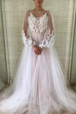 Jewel Long Sleeves Sheer A-line Long Prom Dresses in Pink_1