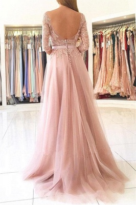 Lace Tulle Prom Dress Half Sleeves Backless Side Split Formal Gown_3