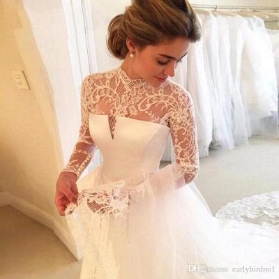 Elegant A-line Long-Sleeve Lace Zipper High-Neck Wedding Dress_4