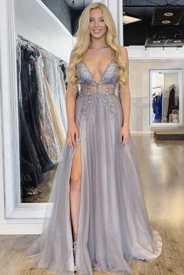 Sexy Spaghetti Straps Sheer A-line Tulle Prom Dresses with Side Slit_3