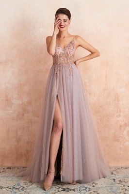 Sexy Spaghetti Straps Sheer A-line Tulle Prom Dresses with Side Slit_20