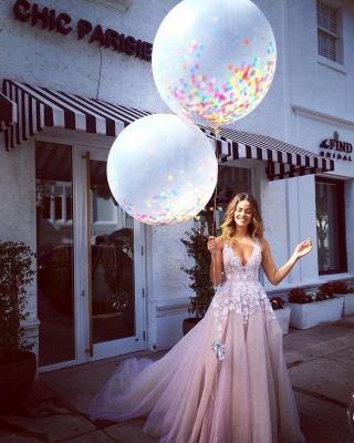Pink Tulle A-Line Wedding Dresses Deep V-Neck Applique Chapel Train Long Bridal Dresses_2