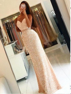 Long Sleeveless Sequined Prom Dress Spaghetti-Strap Bodycon Evening Gowns_4