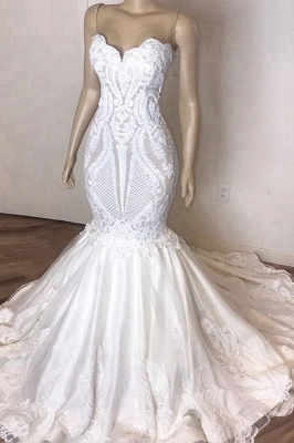 Sexy Sweetheart Backless Lace Fit And Flare Mermaid Wedding Dress_1