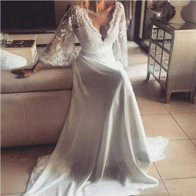 Lace A-Line V-Neck Long Sexy Wedding Dresses_2