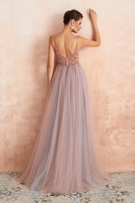 Sexy Spaghetti Straps Sheer A-line Tulle Prom Dresses with Side Slit_12