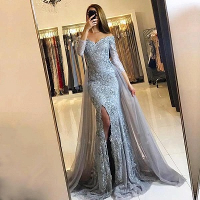 2018 Front-Split Mermaid Lace-Appliques Newest Sweetheart Long-Sleeve Prom Dress SP0345_2