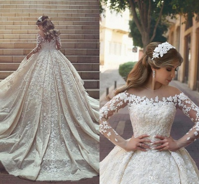 Gorgeous Ruffles Appliques Wedding Gowns Long Sleeves Crystals Tulle Wedding Dresses_3