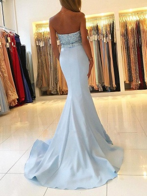 Strapless Sweetheart Backless Sweep-train Beading Mermaid Prom Dresses PD623_3