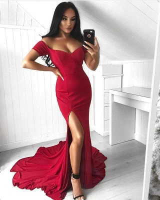 Red Off-the-Shoulder Prom Dresses | Sexy Split Evening Gowns_3