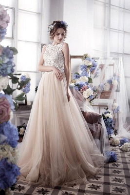 Vintage Tulle Appliques Bridal Gowns Sleeveless Romantic Wedding Dresses_2