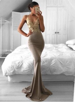 2018 Spaghetti-Strap Sweep-Train Mermaid Sleeveless Sexy Lace Prom Dress_2