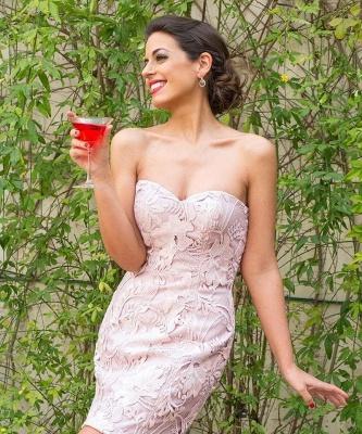 Sexy Sleeveless Mini Bow Sweetheart Lace Homecoming Dress_3
