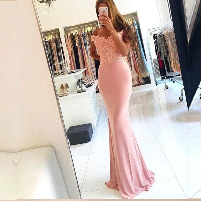 Sexy Cheap Pink Off-the-Shoulder Lace Long Sheath Evening Dresses with Beading_5