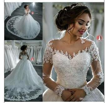 Elegant Sheer Lace Long Sleeves Bridal Ball Gown Beaded Wedding Dresses_3