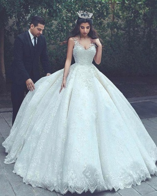 Appliques Ball-Gown Lace Sleeveless Latest V-neck Wedding Dress_2