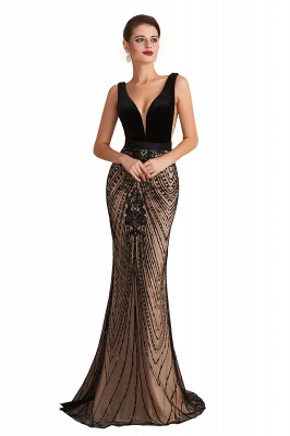 Elegant Sleeveless V-neck Fit and Flare Black Prom Dresses_3