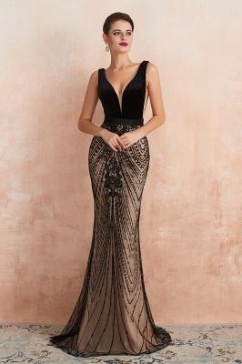 Elegant Sleeveless V-neck Fit and Flare Black Prom Dresses_2