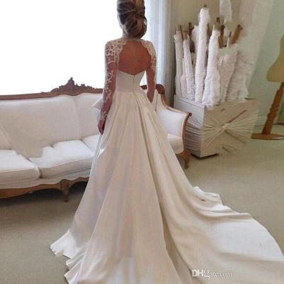 Elegant A-line Long-Sleeve Lace Zipper High-Neck Wedding Dress_3
