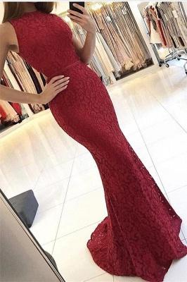 Red Elegant Mermaid Lace Sleeveless Sweep Train Prom Dresses qq0330_2