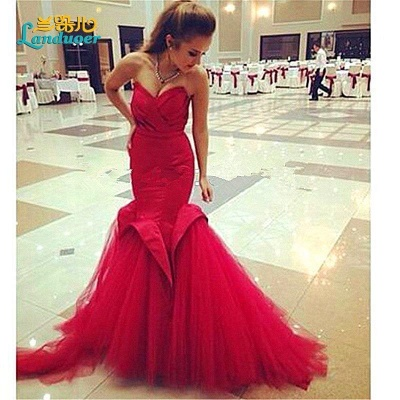 Alluring Red Mermaid Sweetheart Prom Dress Lace-Up Evening Dress_2