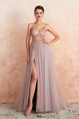 Sexy Spaghetti Straps Sheer A-line Tulle Prom Dresses with Side Slit_11