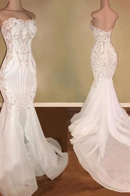 Sexy  Sweetheart Applique Floor Length  Mermaid Wedding Dress | Backless Bridal Gown_3