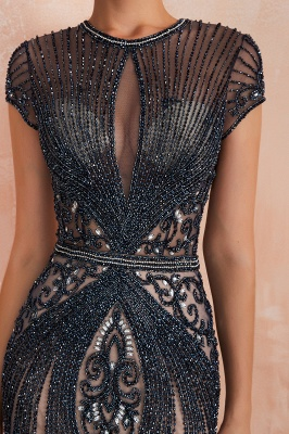 Jewel Keyhole Cap Sleeves Floor Length Beaded Black Prom Dresses_20