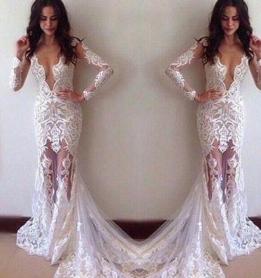 Glamorous Sexy Appliques Long-Sleeves Lace Sheath Prom Dress_2