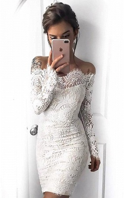 Long-Sleeve Short Simple Cocktail White Mermaid Party Dresses_4
