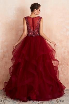 Modern Straps V-neck Ruffled Beaded Puffy Prom Dresses_4