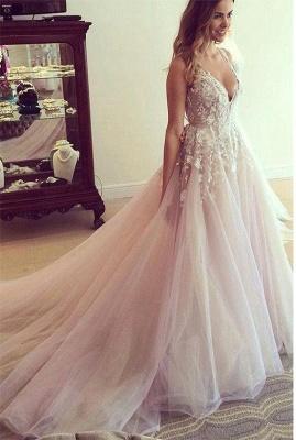 Pink Tulle A-Line Wedding Dresses Deep V-Neck Applique Chapel Train Long Bridal Dresses_4