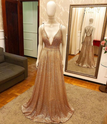 Deep V-neck Spaghetti Straps A-line Sparkly Gold Sequin Prom Dresses_2