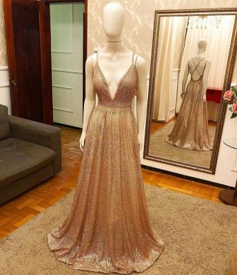 Deep V-neck Spaghetti Straps A-line Sparkly Gold Sequin Prom Dresses_2