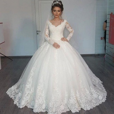 Elegant Lace Ball Gown Wedding Dresses | Long Sleeves V-Neck Bridal Gowns_2