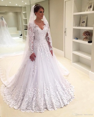 Elegant A-Line Appliques Long-Sleeves Tulle V-Neck Wedding Dresses with Beadings_4