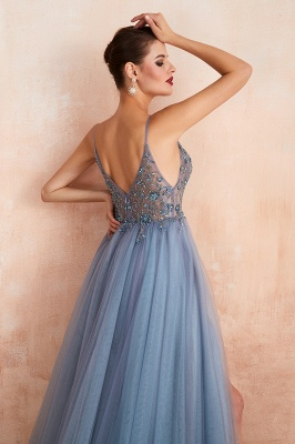 Sexy Spaghetti Straps Sheer A-line Tulle Prom Dresses with Side Slit_22