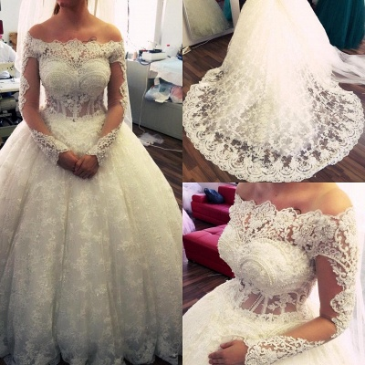 Lace Ball-Gown Amazing Pearls Off-the-Shoulder Long-Sleeves Wedding Dresses_3