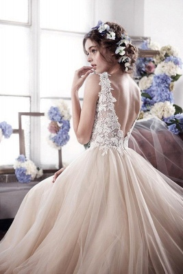 Vintage Tulle Appliques Bridal Gowns Sleeveless Romantic Wedding Dresses_3