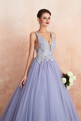 Elegant Lilac Sleeveless V-neck Appliques A-line Tulle Prom Dresses_8