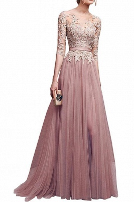 NANA | A-line Half Sleeves Floor Length Slit Appliqued Tulle Prom Dresses with Sash_1