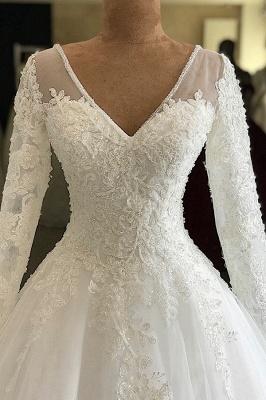 Graceful V Neck Long Sleeve Lace Wedding Dress |  Applique  A Line Bridal Gown_3