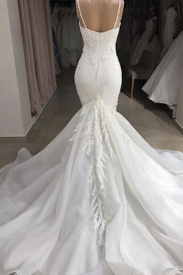 Amazing Spaghetti Strap Sweetheart Applique Lace Fit And Flare Mermaid Wedding Dress_3