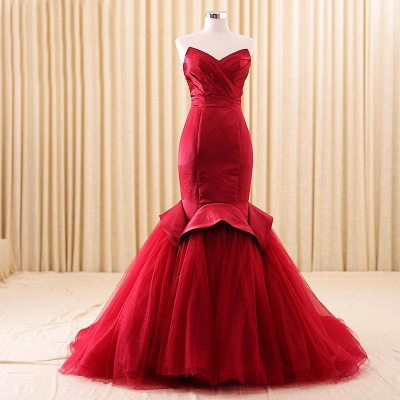 Alluring Red Mermaid Sweetheart Prom Dress Lace-Up Evening Dress_6