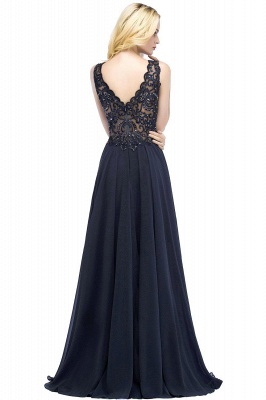 Straps V-neck A-line Simple Formal Gown for Prom And Bridesmaid_55