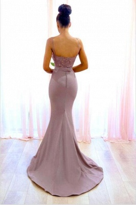 Sexy Lace Sleeveless Bridesmaid Dresses | Spaghetti-Straps Mermaid Evening Dress_2