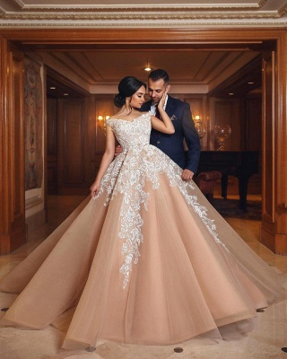 Gorgeous Champagne Off-the-shoulder Ball Gown Wedding Dresses_2