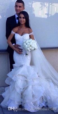 Elegant Crystal Ruffles Mermaid Sweetheart Wedding Dresses_5