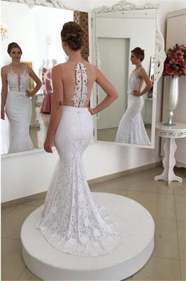 Simple Mermaid White Lace Appliques Sleeveless Wedding Dresses_2
