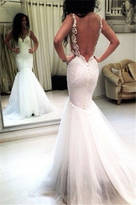 Tulle Appliques Mermaid Sexy Open-Back Sleeveless Wedding Dresses_2